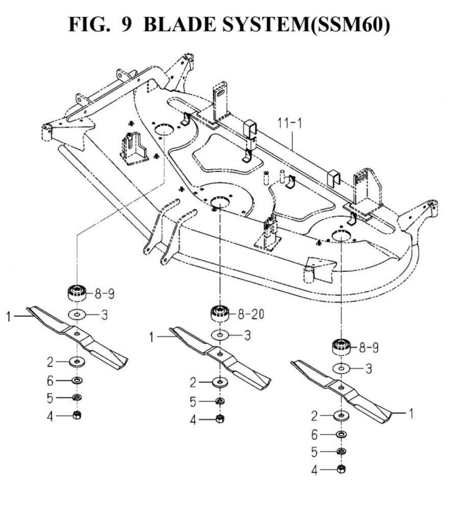 Genuine ISEKI TG5390 60 SSM60 Deck Mower Blade Part Number